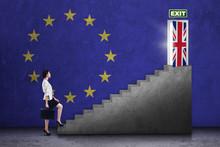 Woman Walking On Stairs Toward Brexit Door