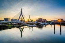 The Leonard P. Zakim Bunker Hill Bridge At Sunset, In Boston, Ma