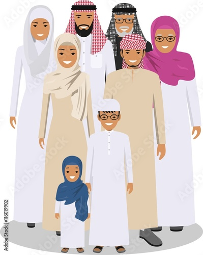 Family and social concept  Arab person generations at