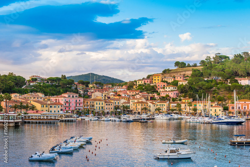 Wall Murals Island Panoramic view over the famous attraction port of Porto Azzurro at sunset, in Italy - Elba island