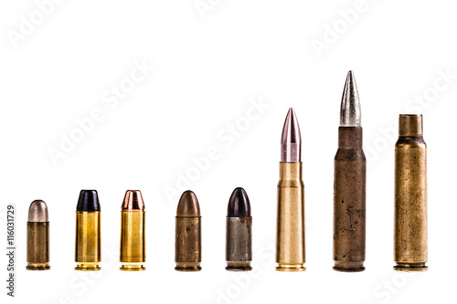 Various bullets isolated Fotobehang