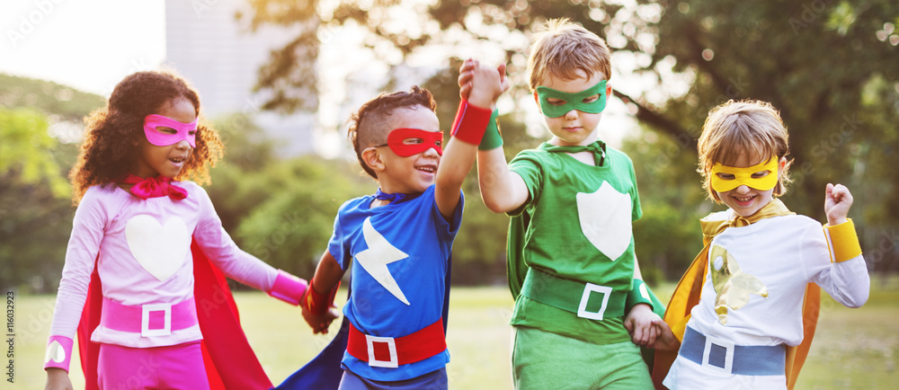 Fototapety, obrazy: Superheroes Kids Friends Playing Togetherness Fun Concept