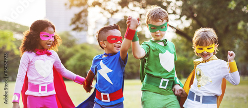 Cuadros en Lienzo Superheroes Kids Friends Playing Togetherness Fun Concept