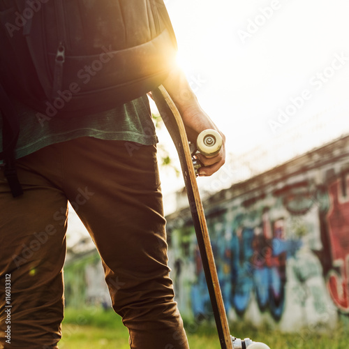 Photo  Skatboarder Lifestyle Playful Park Concept