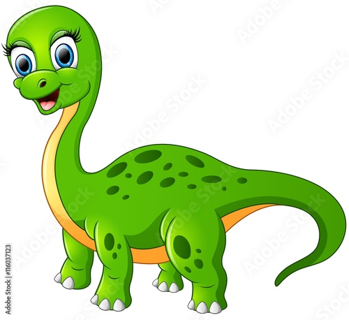 Deurstickers Dinosaurs Happy brontosaurus isolated on white background