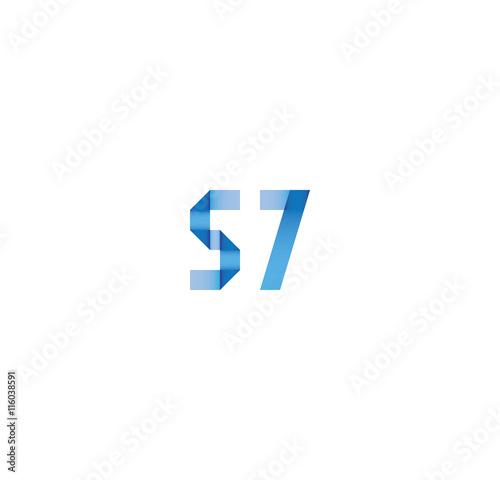 Photo  57 initial simple modern blue