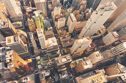 Poster Luchtfoto Aerial view of Midtown Manhattan