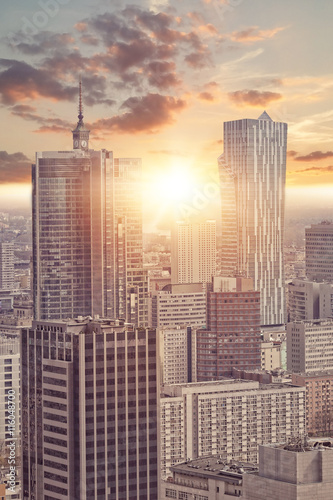 fototapeta na ścianę View of skyscrapers in Warsaw