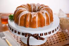Entire Round Bundt Cake Frosted Glaze Rum Brandy Holiday Dessert
