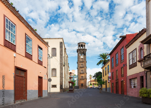 view of street of La Laguna old town, Tenerife island, Spain