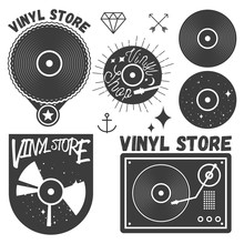 Vector Set Of Vinyl Disc And Player. Music Records Store Logotypes, Design Elements.