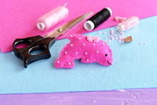 Pink Felt Dolphin Soft Toy Embellished With Beads And Button. Fabric Sea Animal Toy. Home Felt Marine Creature Decor For Kids. Sewing Crafts Materials And Supplies
