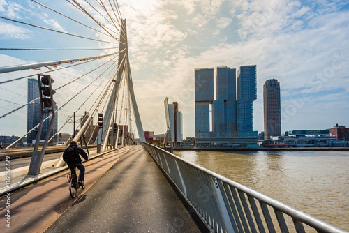 Obraz Erasmusbrücke in Rotterdam, Holland - fototapety do salonu