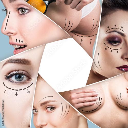Zdjęcie XXL Kolaż koncepcja chirurgii plastycznej
