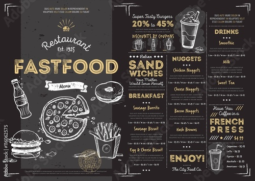 Restaurant Fast Food Cafe Menu Template Flyer Vintage Design Vector