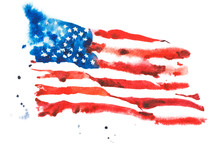Flag Of America, Hand Drawn Wa...