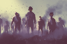 Zombie Crowd Walking At Night,...