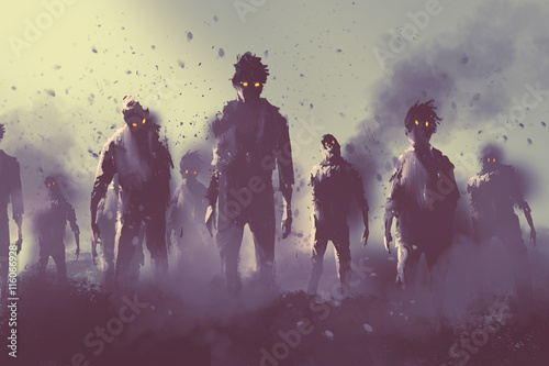 Photo zombie crowd walking at night,halloween concept,illustration painting