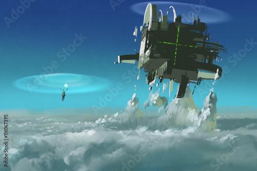 mężczyzna odlewający futurystyczną strukturę przedzierającą się przez chmury, malarstwo ilustracyjne