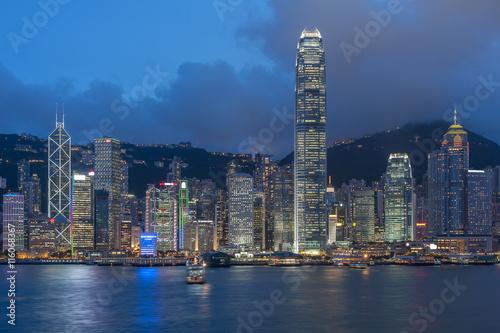 Fototapety, obrazy: Panorama of Victoria Harbor in Hong Kong at dusk
