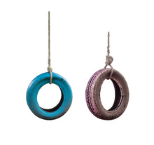 Pink And Blue Tire Swing Isolated On A White Background