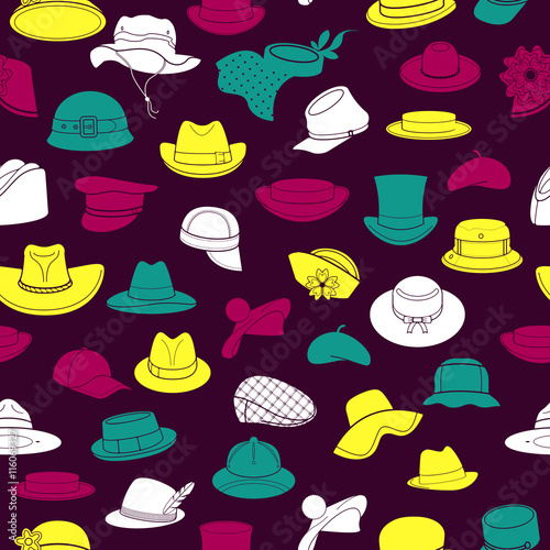 Seamless pattern with flat icons of headwear Canvas Print