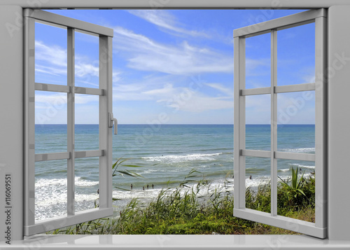 Aluminium Prints Dark grey Open Window to the Summertime - 3D