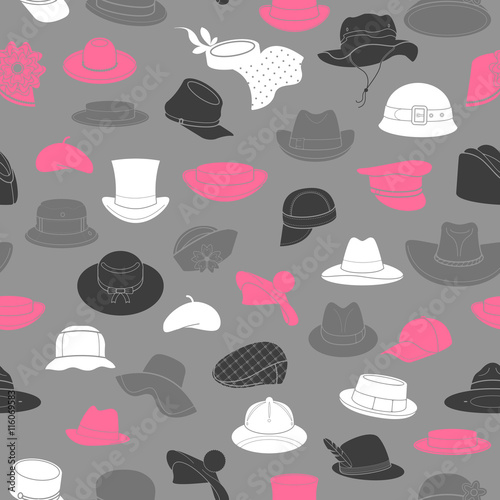 Seamless pattern with flat icons of headwear Wallpaper Mural