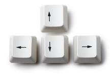 Four Keyboard Arrow Keys On White Background
