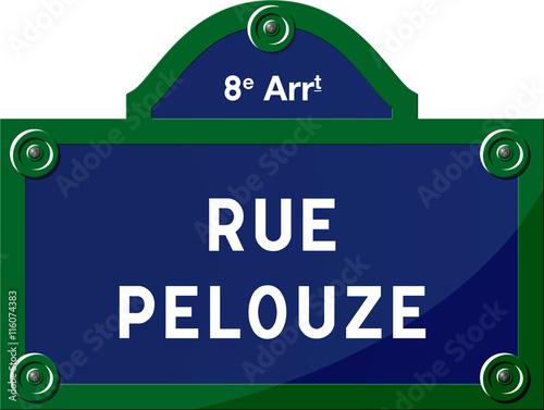 Fotografie, Obraz  Panneau - Rue Pelouze 75008 Paris - France