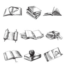 Books Sketch Vector Illustration Set