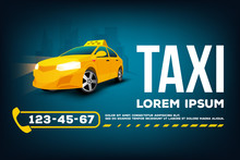 Taxi Service Car Poster Banner