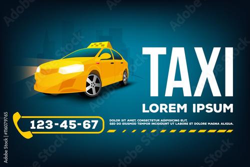 Fotografie, Obraz  Taxi service car poster banner