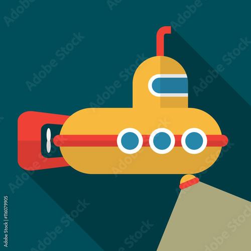Láminas  Submarine flat icon illustration