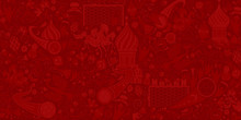 Russian Red Background, Pattern With Modern And Traditional Elem