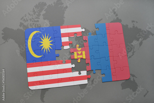 puzzle with the national flag of malaysia and mongolia on a world map background Poster