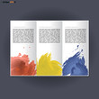 Abstract print A4 in 3 parts design with blue, red and yellow brush strokes, for flyers, banners or posters over silver background. Digital vector image.