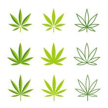 Marijuana Leaves Vector Icons