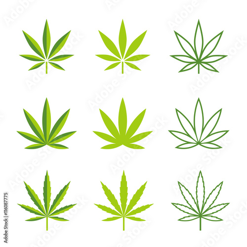 Photo  Marijuana leaves vector icons