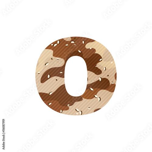Fotografía  Letter O logo with desert camouflage.