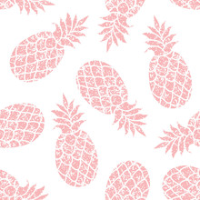 Pineapple Vector Seamless Pattern For Textile, Scrapbooking Or Wrapping Paper. Pineapple Silhouette Repeating Ornament.