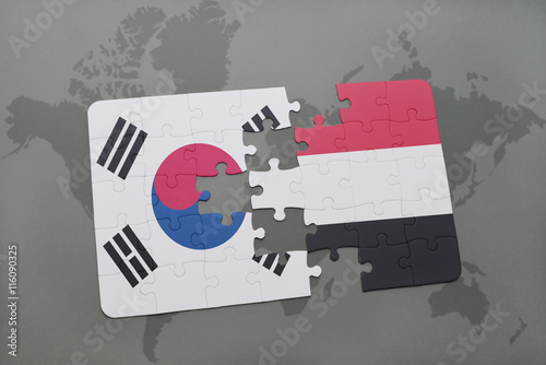 puzzle with the national flag of south korea and yemen on a world map background Poster