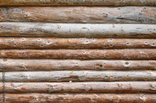 Photo Debarked Rough Log Cabin Wall Horizontal Background