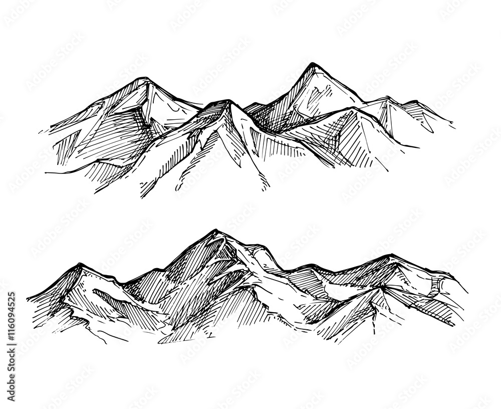 Fototapety, obrazy: Hand drawn vector illustration - mountains. Sketch style
