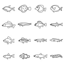 Cute Fish Icons Set In Outline...