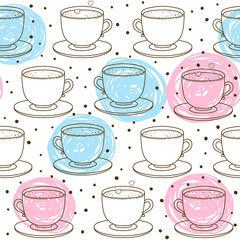 FototapetaSeamless pattern with cute cups