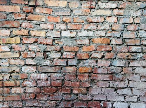 Texture Of Old Dilapidated Shabby Red Brick Masonry