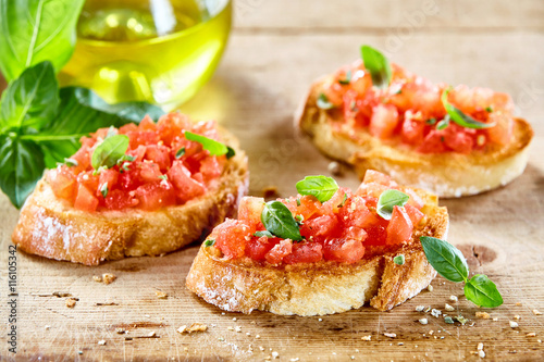 Tasty savory tomato Italian appetizers Canvas Print