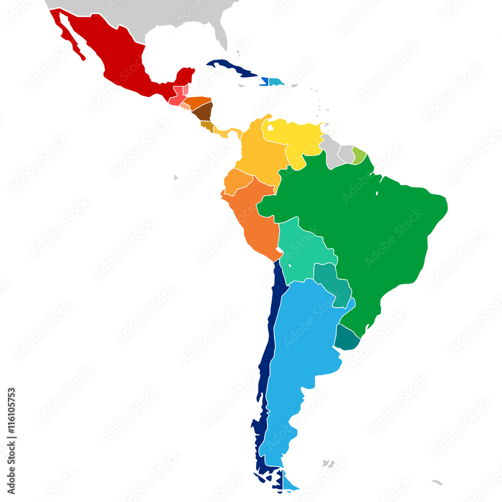 Fototapety, obrazy: Colorful countries of Latin America. Simplified vector map.