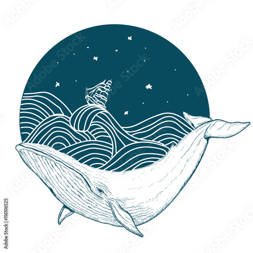 Obraz premium Whale under water tattoo art whale in the sea graphic style